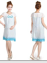 Maternity Clothing One-piece Dress Spring and Summer Chiffon Dot Pregnant