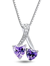 Moda Sterling Silver platinata con la collana di ametista e diamanti Donna