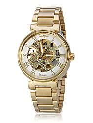 Unisex Auto-Mechanical Retro Golden Skeleton Steel Band Wrist Watch
