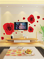 1pcs rose coloré romantique rouge sticker mural