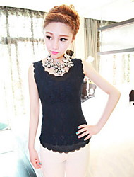 Women's Solid/Lace Black/Blue/Pink/White Vest , Round Neck Sleeveless Lace