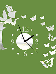 "20""H Modern Style Angle Butterfly Mirror Wall Clock"
