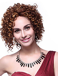 100% Kanekalon Synthetic Screw Curly Short Brown Wig