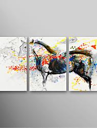 iarts®hand peint peinture à l'huile animale Running Horse avec étiré ensemble de 3 prêt à accrocher de châssis