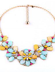 European Fashion Flower Short Necklace Alloy Statement Necklaces 1pc