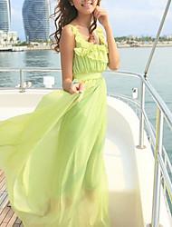 Das Caelyn Mulheres vestido cabido Chiffon Verde