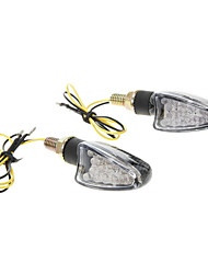 DC12V 2W Motorcycle Parts 1307 Carbon Fiber Material Short-handled Yellow Light LED Turnlight (2 Pieces)