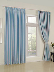 Modern Two Panels Solid  Living Room Polyester Blackout Curtains Drapes Light Blue