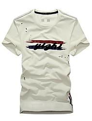 Hombres de cuello redondo manga corta a rayas de impresión T-shirt