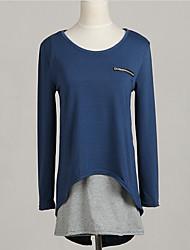 Damen Patchwork T-shirt,Rundhalsausschnitt Alle Saisons Langarm Blau Baumwolle Mittel