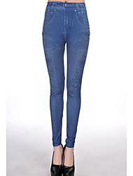Pull elegante feminino Denim Leggings