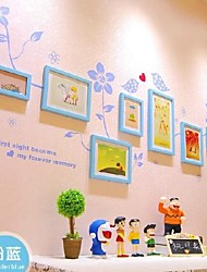 Sky Blue Photo Frame Collection Set of 7 with Flower Wall Sticker