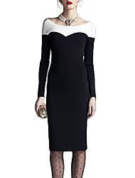 MIUSOL Frauen Shirt Scoop Neck Splicing Abnehmen Langarm-Kleid (Schwarz)