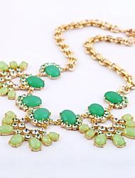 Frais floral vert pierre gemme d'alliage Collier plastron des femmes