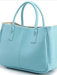 QL Женская мода сплошной цвет Одноместный плеча Tote (голубой)