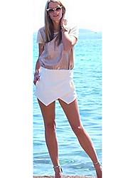Dexon Waren Damen Elegant & Sexy Weiß Asymmetrische kurze Hosen