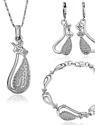 Fashion Tin Alloy  Platinum Plated Jewelry Set (buy 1 get 4 free gifts)