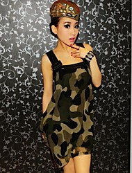 Mulheres Militar PU Costura Correia Larga Mini Vestido