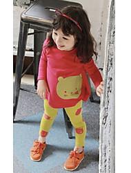 Girl's Bear Print Long Sleeve Tees