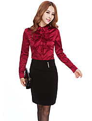 Women's Solid Red/White Shirt , Bow Long Sleeve Ruffle