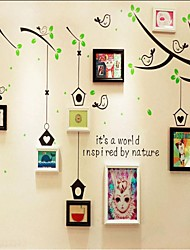 Black White Mixed Color Photo Wall Frame Collection Set of 8 with Tree Wall Sticker