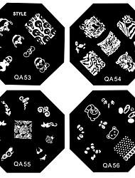 1PCS ногтей штамп штамповка изображения шаблона плиты серии QA NO.9-56 (ассорти шаблон)
