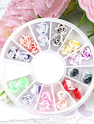 24PCS 12-Color Polymer Colorful Rose Nail Art Decoration