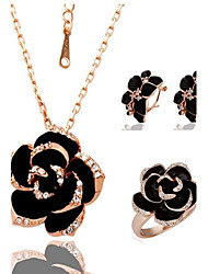 Fashion Black Rose Tin Alloy  Rosy Golden Plated Jewelry Set