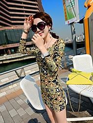 Women's Multi-color Dress , Print Long Sleeve