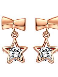 Элегантные золото или серебро с покрытием из Очистить кубический цирконий Звездных Женские серьги (больше цветов)