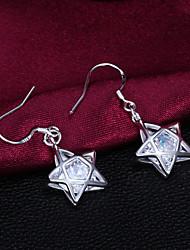 Haute Qualité Star-forme strass Slivery alliage Boucles d'oreilles pendantes Femme (1 paire)
