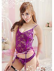 Bybs Women's Purple Matching Braletteslace Designed Nightwear