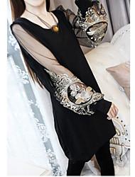 bordado de malla bishep manga de las mujeres mini vestido