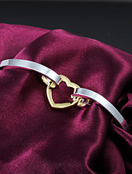 High Quality Lovely Silver Silver-Plated Locked Heart Bangle Bracelets