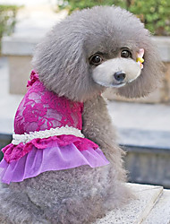 Dog Dress Blue / Pink / Purple Dog Clothes Summer Floral / Botanical