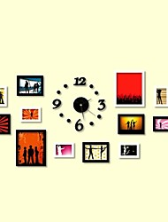 Black White Color Photo Wall Frame Collection Set of 12 with DIY a Wall Clock
