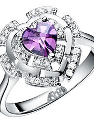lussureggiante nastro viola con anello Cubic Zirconia Cuore delle donne Cut (1 Pc)