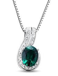 Classic Sterling Silver platinata con Creato smeraldo e diamanti Collana Donna