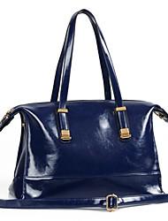 Erlen Women's Korean Style Oil Wax Leather Handbag/One Shoulder/Crossbody Bag(Navy Blue)