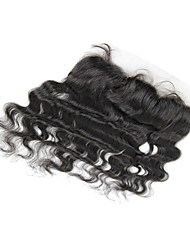 """8"""" Brazilian Hair Silky Body Wave Lace Frontal(13""""*4"""") Natural Color"""