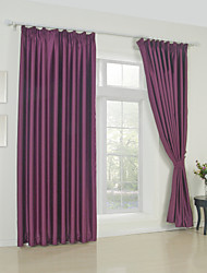 Modern Two Panels Solid  Living Room Polyester Blackout Curtains Drapes