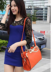 Smiling Butterfly Korean Style Solid Color Crossbody Bag/Tote(Orange)