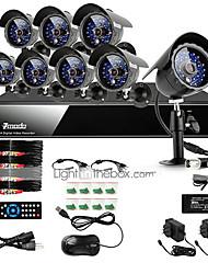 zmodo® 8 ch DVR sistema de câmera de vigilância de segurança 600TVL exterior CCD 65 pés CCTV IR