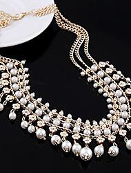 Diezhilian Frauen Europas Multilayer Perlen Alltag Halskette 40 * 20 * 0,4 cm