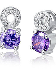 Lovely Silver Plated Silver With Purple Cubic Zirconia Bear Women's Earring