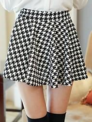 Patrón Primavera cuadrícula plisado Sun Dress Skirts