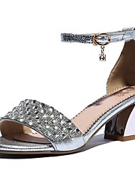 Women's Summer Mary Jane Leather Dress Chunky Heel Rhinestone