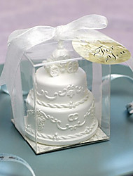 Two Layer Wedding Cake Candle With Pumpkin Coach Topper