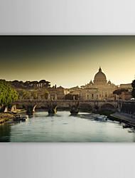Stampa su tela artistica Paesaggio Tevere e la Chiesa di San Pietro a Roma