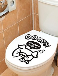 Animals Pig Toilet Posted Wall Stickers